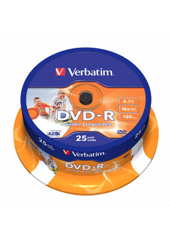 Диск DVD-R Verbatim 4,7Gb 16x Cake Box Printable (25шт) 43538